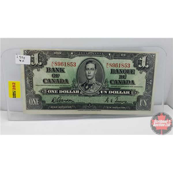Canada $1 Bill 1937 (Gordon/Towers KL8961853) (See Pics for Signatures/Serial Numbers)