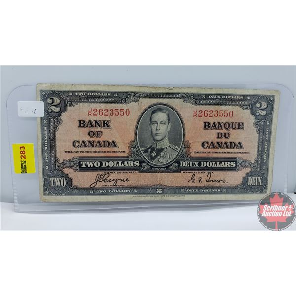 Canada $2 Bill 1937 (Coyne/Towers JR2623550) (See Pics for Signatures/Serial Numbers)
