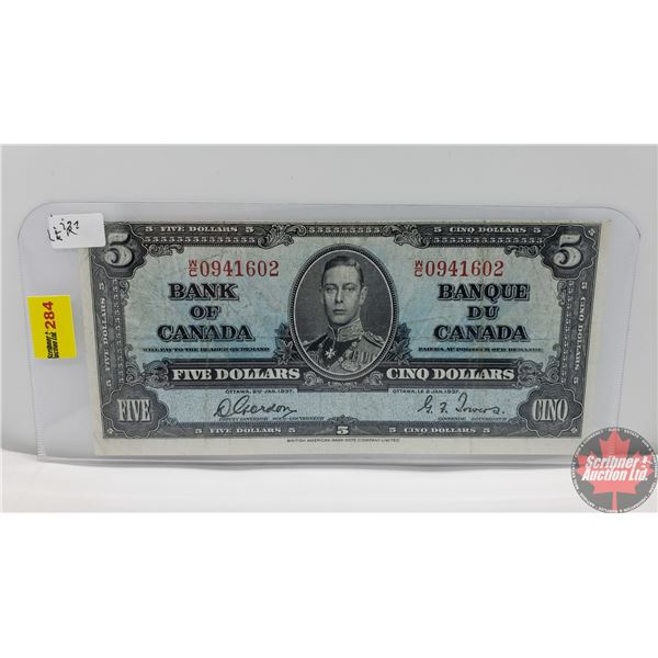 Canada $5 Bill 1937 (Gordon/Towers WC0941602) (See Pics for Signatures/Serial Numbers)