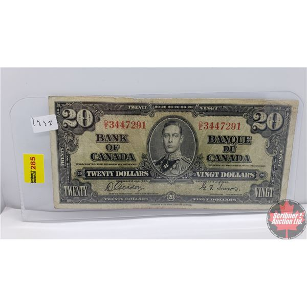 Canada $20 Bill 1937 (Gordon/Towers DE3447291) (See Pics for Signatures/Serial Numbers)