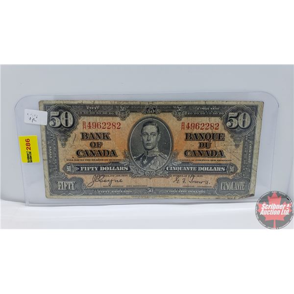 Canada $50 Bill 1937 (Coyne/Towers BH4962282) (See Pics for Signatures/Serial Numbers)