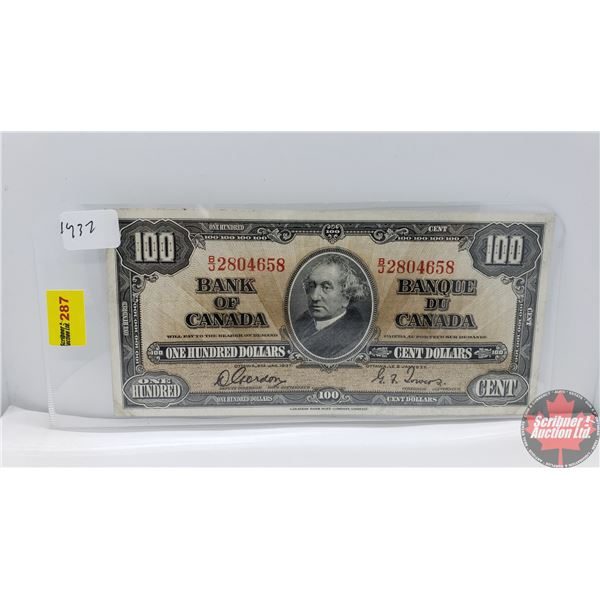 Canada $100 Bill 1937 (Gordon/Towers BJ2804658) (See Pics for Signatures/Serial Numbers)