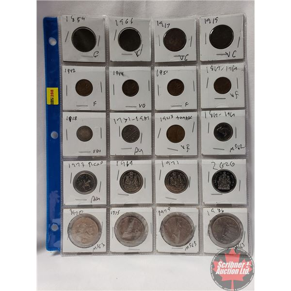 Canada Coins (20 Variety) : Large Cent (1859; 1906; 1917; 1919) Small Cent (1942; 1944; 1951; 1867-1
