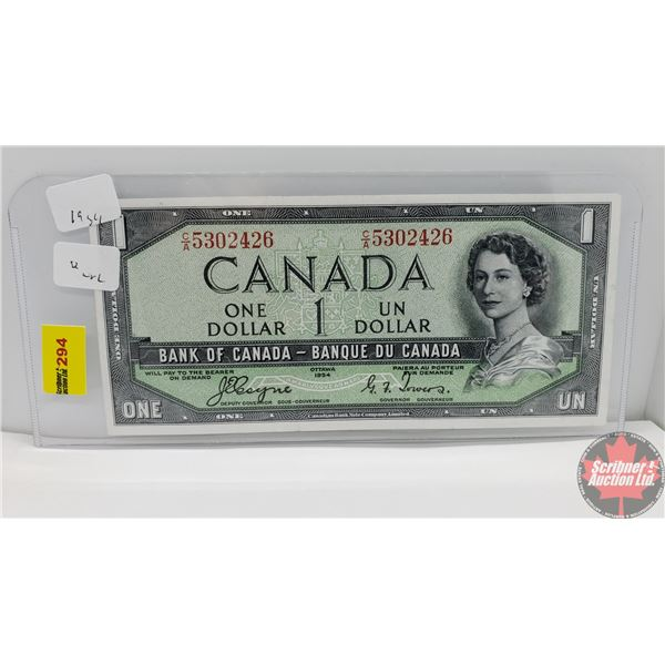 """Canada $1 Bill 1954DF """"Devil's Face"""" (Coyne/Towers CA5302426) (See Pics for Signatures/Serial Number"""