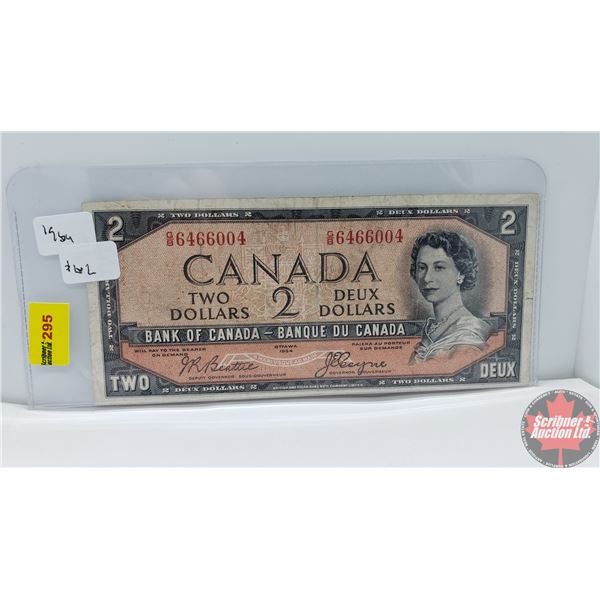 """Canada $2 Bill 1954DF """"Devil's Face"""" (Beattie/Coyne GB6466004) (See Pics for Signatures/Serial Numbe"""