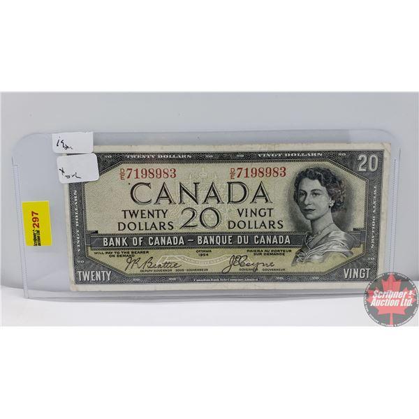"""Canada $20 Bill 1954DF """"Devil's Face"""" (Beattie/Coyne DE7198983) (See Pics for Signatures/Serial Numb"""