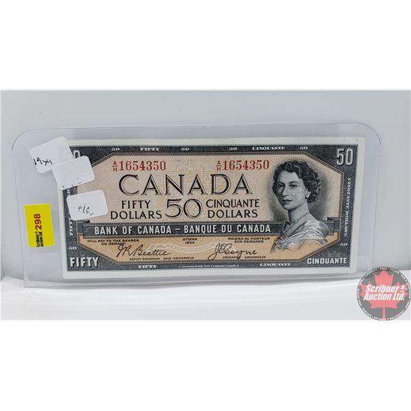 "Canada $50 Bill 1954DF ""Devil's Face"" (Beattie/Coyne AH1654350) (See Pics for Signatures/Serial Numb"