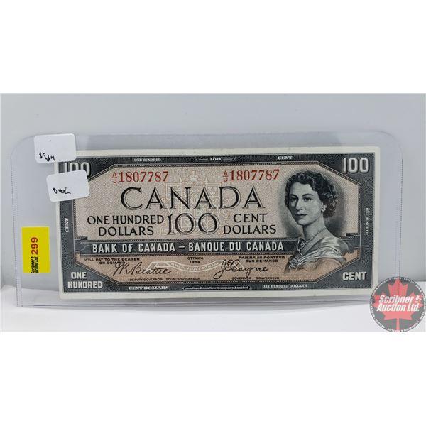 """Canada $100 Bill 1954DF """"Devil's Face"""" (Beattie/Coyne AJ1807787) (See Pics for Signatures/Serial Num"""