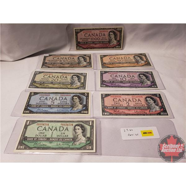 Canada Bills 1954 (8 Bills) : $1; $2; $5; $10; $20; $50; $100; $1000 (See Pics for Signatures/Serial