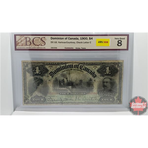 Dominion of Canada $4 Bill 1900 (S/N#050394 Courtney) (BCS Certified: Very Good 8) (See Pics for Sig