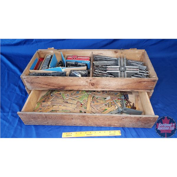 Marx Electric Train Set (Engine/5 Cars & Transformer) w/Track & Accessories (Variety) (In Wooden Cra