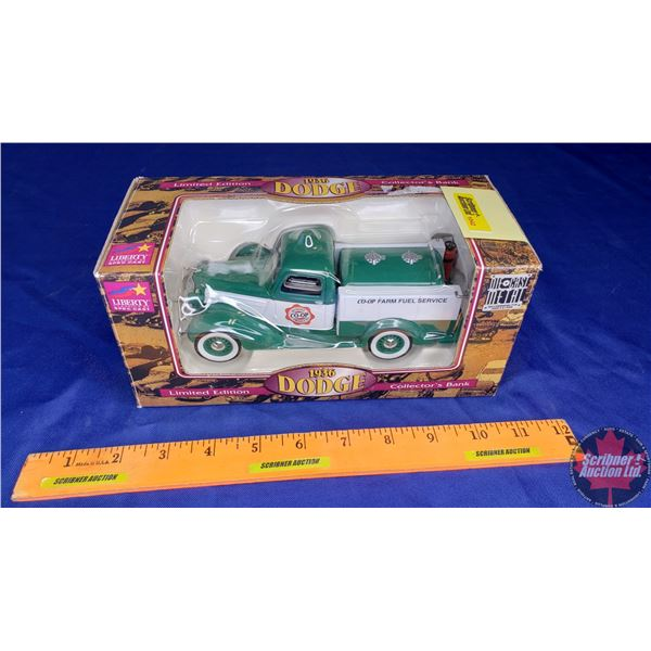 """Liberty Classics : Coin Bank """"1936 Dodge"""" """"Quality Co-Op Products"""" """"Co-Op Farm Fuel Service"""" Limited"""