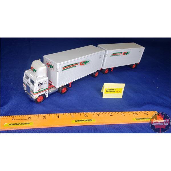 """Canadian Freightways"" Semi-Truck (Tomkin) & 2 Trailers (B-Train) (Decals peeling)"