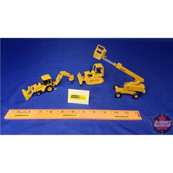 Construction Toy Trio: JLG Man Lift, John Deere Dozer, John Deere Backhoe Loader (See Pics)