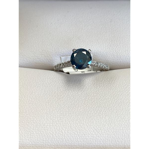 PLATINUM BLUE DIAMOND RING (1.10CT) WITH 16 DIAMONDS (0.12CT) COMES WITH APPRAISAL SUGGESTED