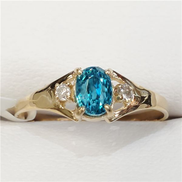 10K BLUE ZIRCON(1CT) DIAMOND(0.02CT) RING SIZE 6