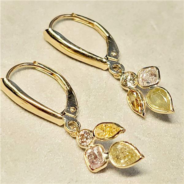 10K  DIAMONDS (1.45CT,LIGHT PINK, ORANGE AND GREEN) DIAMONDS ( 0.1CT) EARRINGS