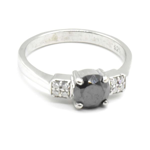 SILVER MOISSANITE (ROUND 7 MM)(1.45CT) RING SIZE 9.5