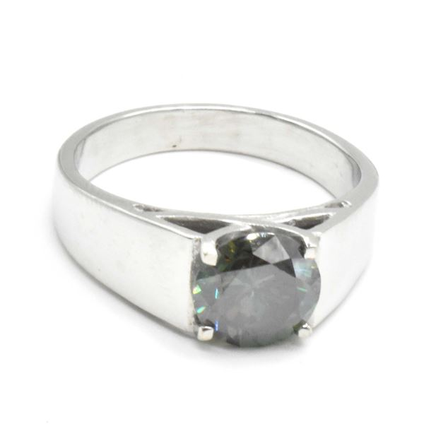 SILVER MOISSANITE (ROUND 8.5 MM)(2.35CT) RING SIZE 9.5