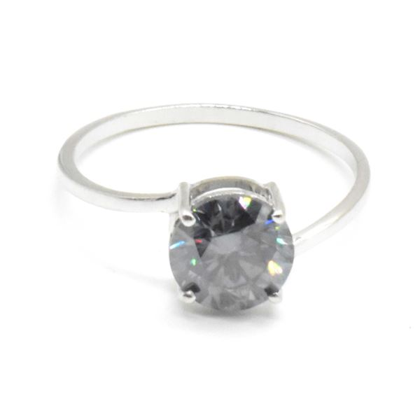 SILVER MOISSANITE (ROUND 7 MM)(1.55CT) RING SIZE 7