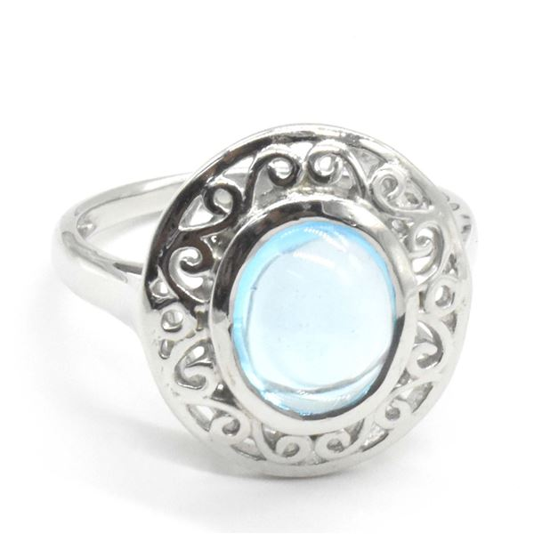 SILVER BLUE TOPAZ SWISS(4.85CT) RING SIZE 10