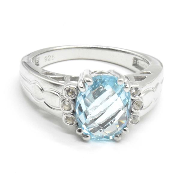 SILVER BLUE TOPAZ(4.35CT) RING SIZE 10
