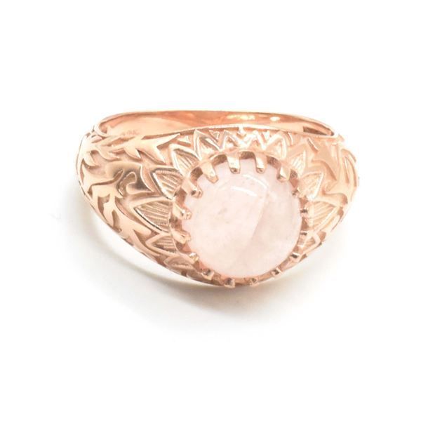 ROSE GOLD PLATED SIL ROSE QUARTZ(4.3CT) RING SIZE 10