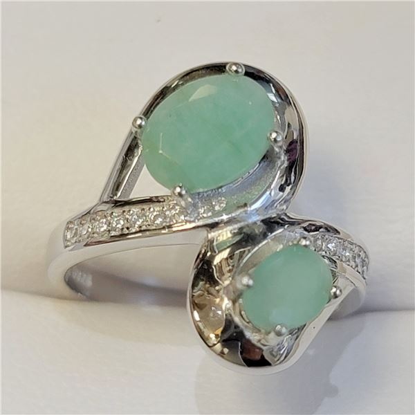SILVER EMERALD(2CT) RING