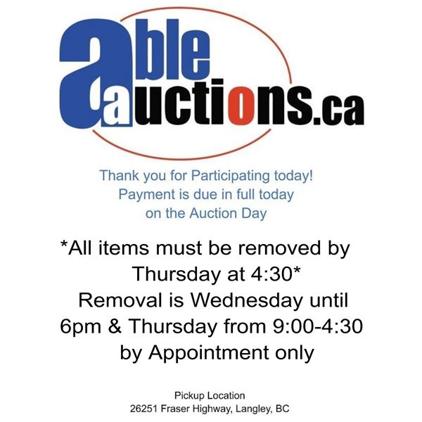 ALL ITEMS MUST BE REMOVED BY WEDNESDAY UNTIL 6:00PM & THURSDAY 9AM - 4:30PM BY APPOINTMENT