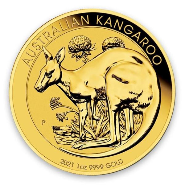 Australia's .9999 Fine Gold 1oz Kangaroo. The  Australian Kangaroo coin has raised, highly  polished