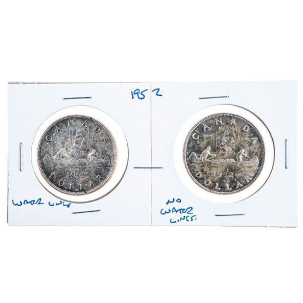 Lot of 2 1952 Canada Silver Dollars WL & NWL