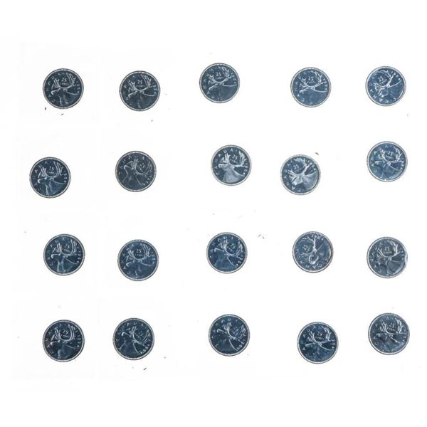 Lot 20 Canada I original Mint Wrap Silver PL 25  Cent Coins