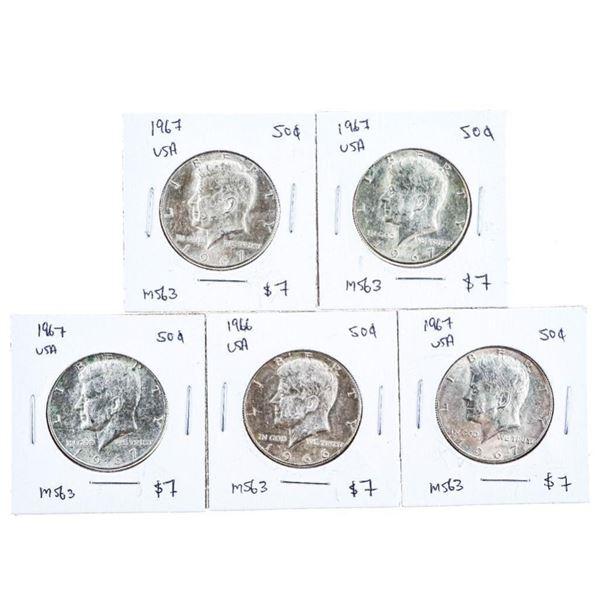 Lot of 5 USA JFK 1967 x 50 Cents