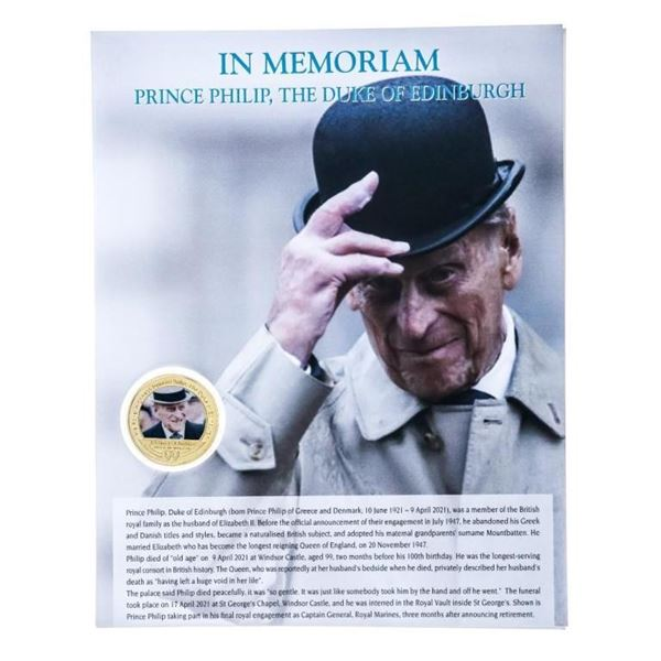 IN Memoriam -Prince Philip & Q.E. 24kt Gold Foil  Medallion w/ Giclee Art Card