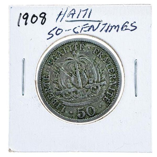 1908 Haiti 50 Centimes Coin