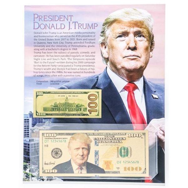 USA 24kt Gold Foil $100 Donald Trump w/ Giclee Art  card Display