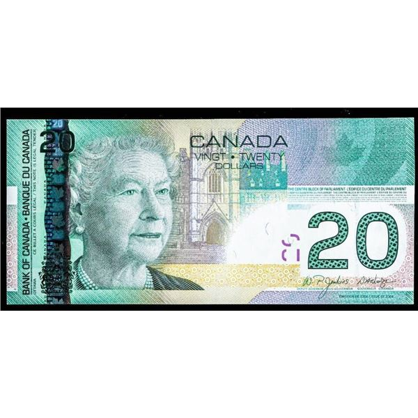 """OLMSTEAD Original Bank of Canada 2004 $20 """"EZG""""  Sheet Replacement"""