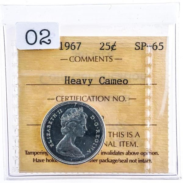 Canada 1967 Silver 25 Cents Heavy cameo SP65 ICCS