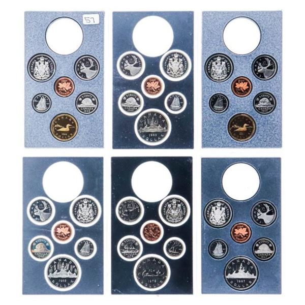 Group of 6 Proof Coin Sets Only 1 x $1 in Each