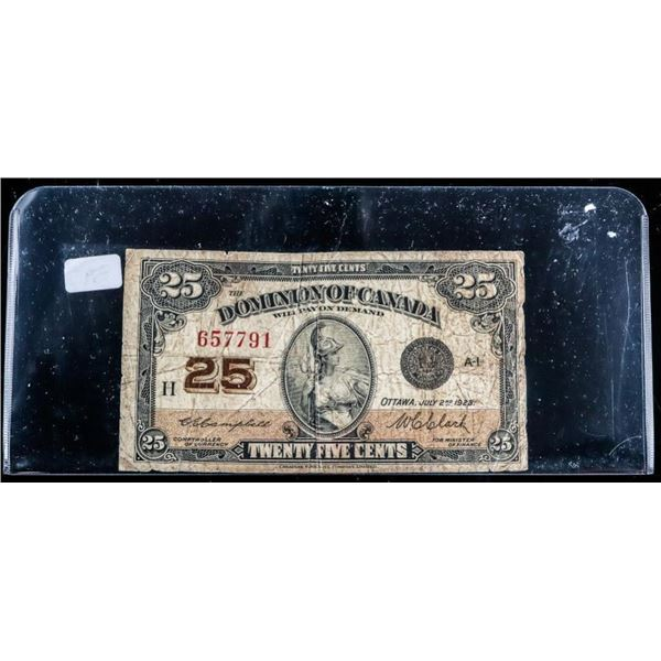 Dominion of Canada Shinplaster 25 Cents C/C