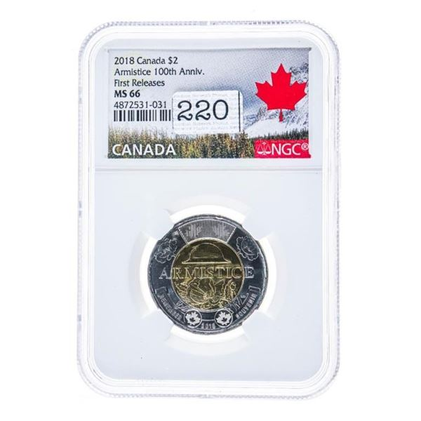 2018 Canada $2 Armistice 100th Anniversary First  Release MS66