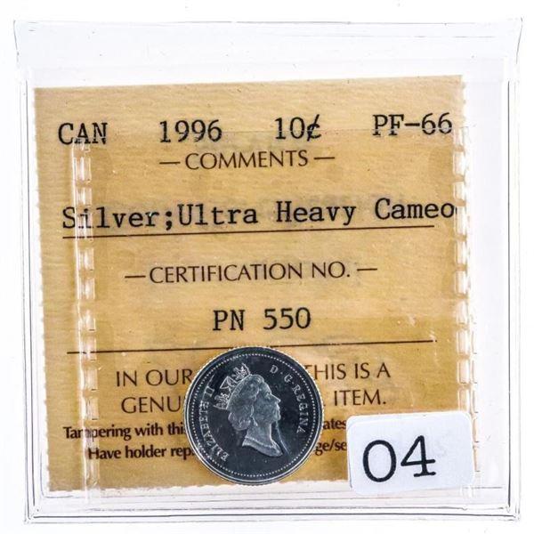 Canada 1996 Silver 10 Cents Ultra Heavy Cameo PF66  ICCS