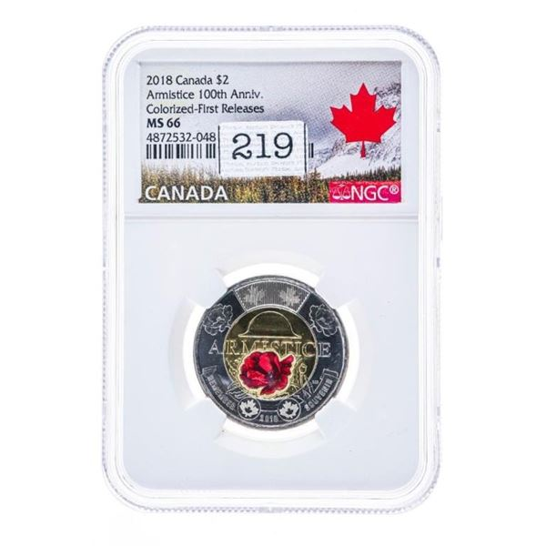 2018 Armistice 100th Anniversary Colourized First  release MS 66 NGC
