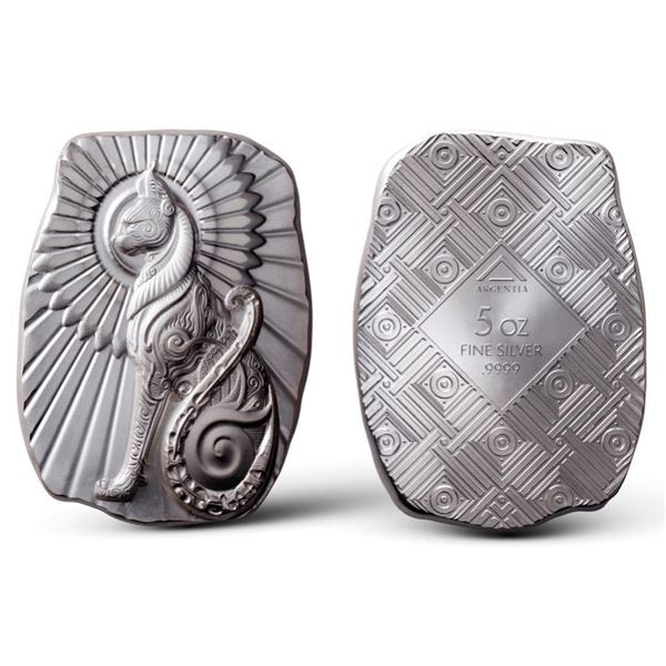 Argentia .9999 Fine Silver Bar - Egyptian Cat -  Inspired by Mythology of Ancient Egypt. ASW  5oz.