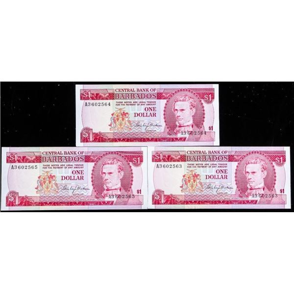 Central Bank of Barbados One Dollar Lot 3 In  Sequence 1973