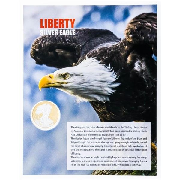Liberty Silver Clad Eagle Coin w/ 24kt Gold Foil  Giclee Art Card Display