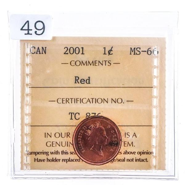 Canada 2001 One Cent Coin Red MS66 ICCS