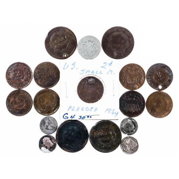 Lot 18 Coins Mixed Damaged etc.