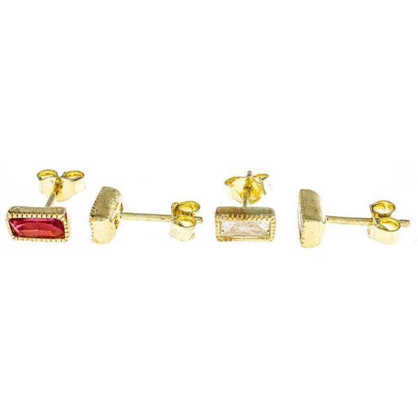Lot 2 Pr. 925 Sterling Silver GP Stud Back  Earrings