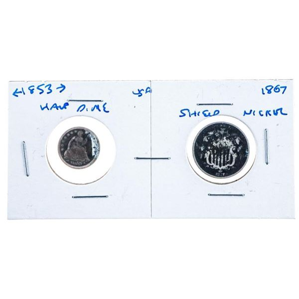 Lot 2 USA Silver 1853 Half Dime & 1867 Shield  Nickel